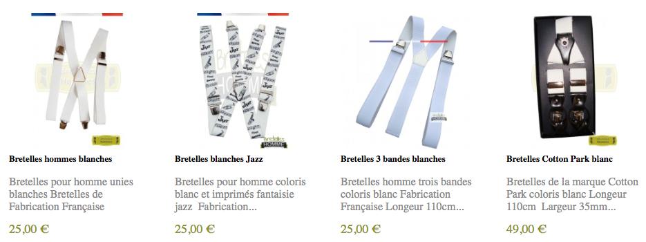 acheter des bretelles blanches